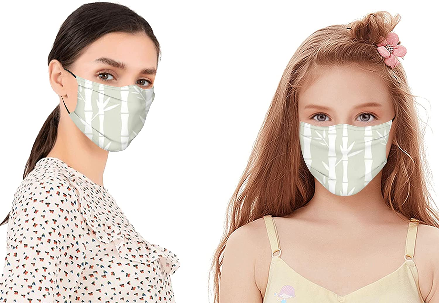 Rainforest Tree Bamboo Branches Leaves Silhouettes Texture Summer Illustration Mouth Cover for Women,Face Mask Reusable Washable Cloth for Men(2PC with 2 Filter)