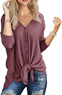 SAMPEEL Women's Casual Solid T Shirts Twist Knot Tunics...