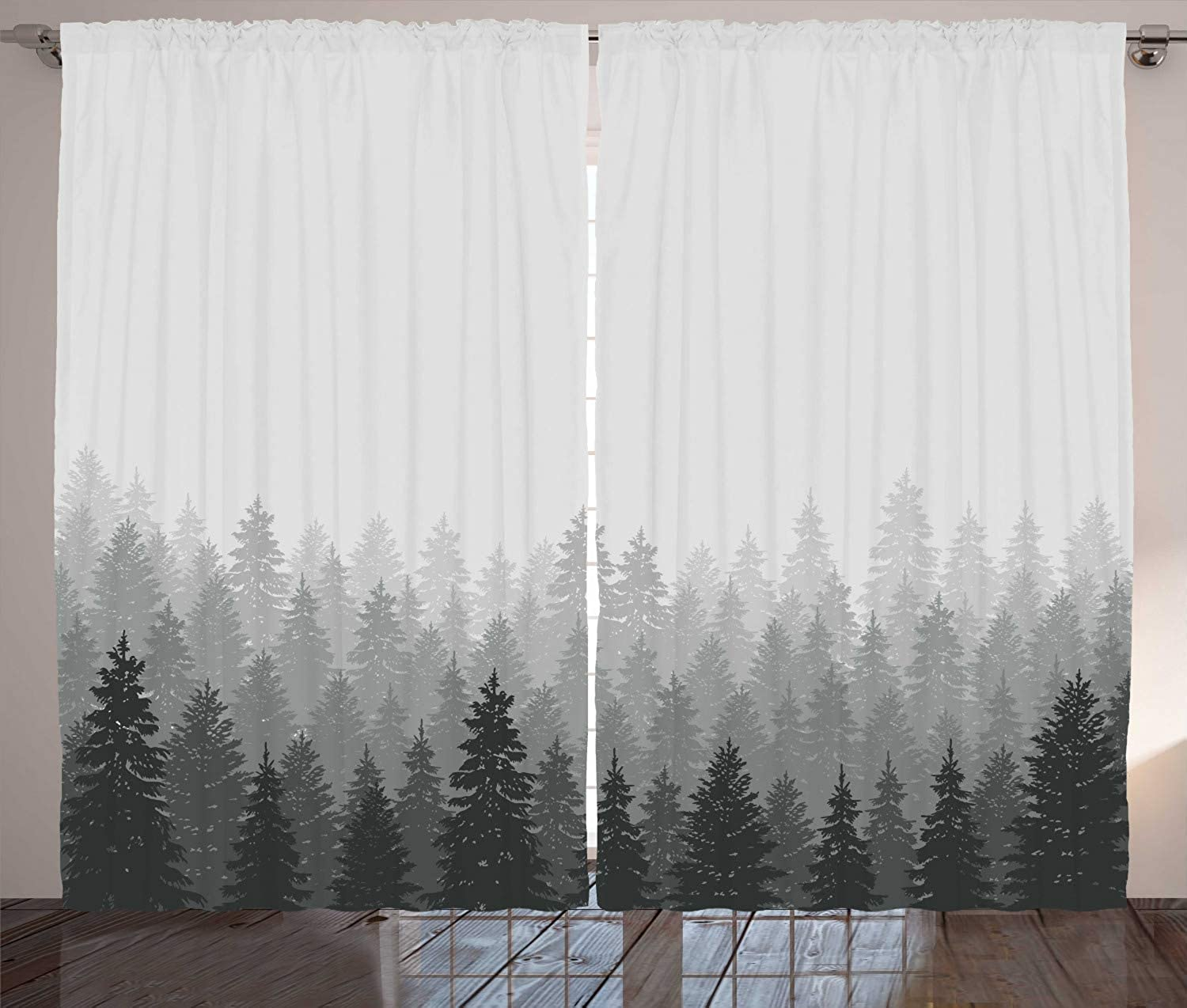Ambesonne Forest Curtains, Wilderness Pattern with Many Trees Nature Panorama Monochrome Woods, Living Room Bedroom Window Drapes 2 Panel Set, 108 W X 108 L Inches, Pale Grey Dark Reseda Grey