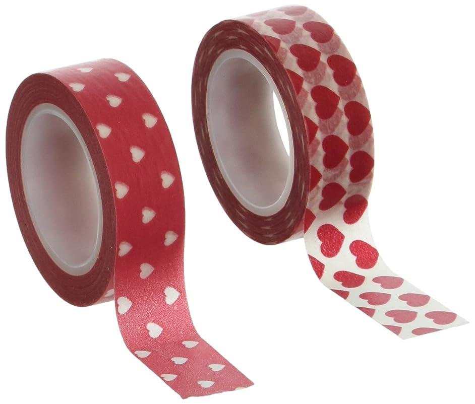 Wrapables Red Hot Hearts Washi Masking Tape, Set of 2