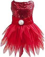 Tangpan Beam Waist Christmas Pet Costume Dog Dance Skirt Satin Camp Party Dress