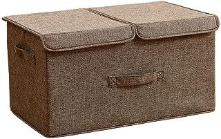 Boîtes de rangement avec couvercles, boîte de rangement en cube avec poignées, bacs de rangement pliables en tissu de coto...