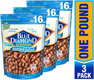 Blue Diamond Almonds, Roasted Salted, 16 Ounce (Pack of 3)
