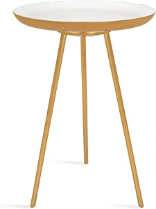 "Kate and Laurel Laranya Modern Side Table, 15"" x 15"" x 22.5"", White and Gold, Chic Minimalist End Table"