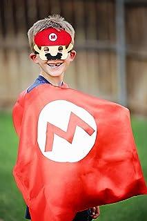 スーパーマリオマスク スーパーヒーローケープ&マスク – レッド&ホワイトヒーローケープ スーパーヒーローマスク&ケープ マリオ。