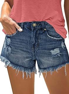luvamia Women's Mid Rise Ripped Denim Shorts Frayed Raw Hem Casual Jeans Shorts
