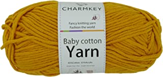 Charmkey Baby Cotton Yarn Simply Soft Boutique 4 Ply Medium Acrylic Blended Worsted Dungarees Knitting Yarn for Spring Summer Wear, 1.58 Ounce (Golden Golw)