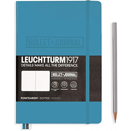 LEUCHTTURM1917 - Official Bullet Journal - Medium A5 - Hardcover Dotted Notebook (Nordic Blue) - 240 Numbered Pages