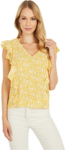 All The Frills 'Shadow Floral' Print Bubble Crepe Top