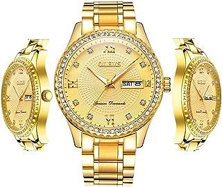 OLEVS Men Quartz Business Watch with Stainless Steel Band Classic Waterproof Watches Roman Numeral Unique Calendar Date Window Wristwatch