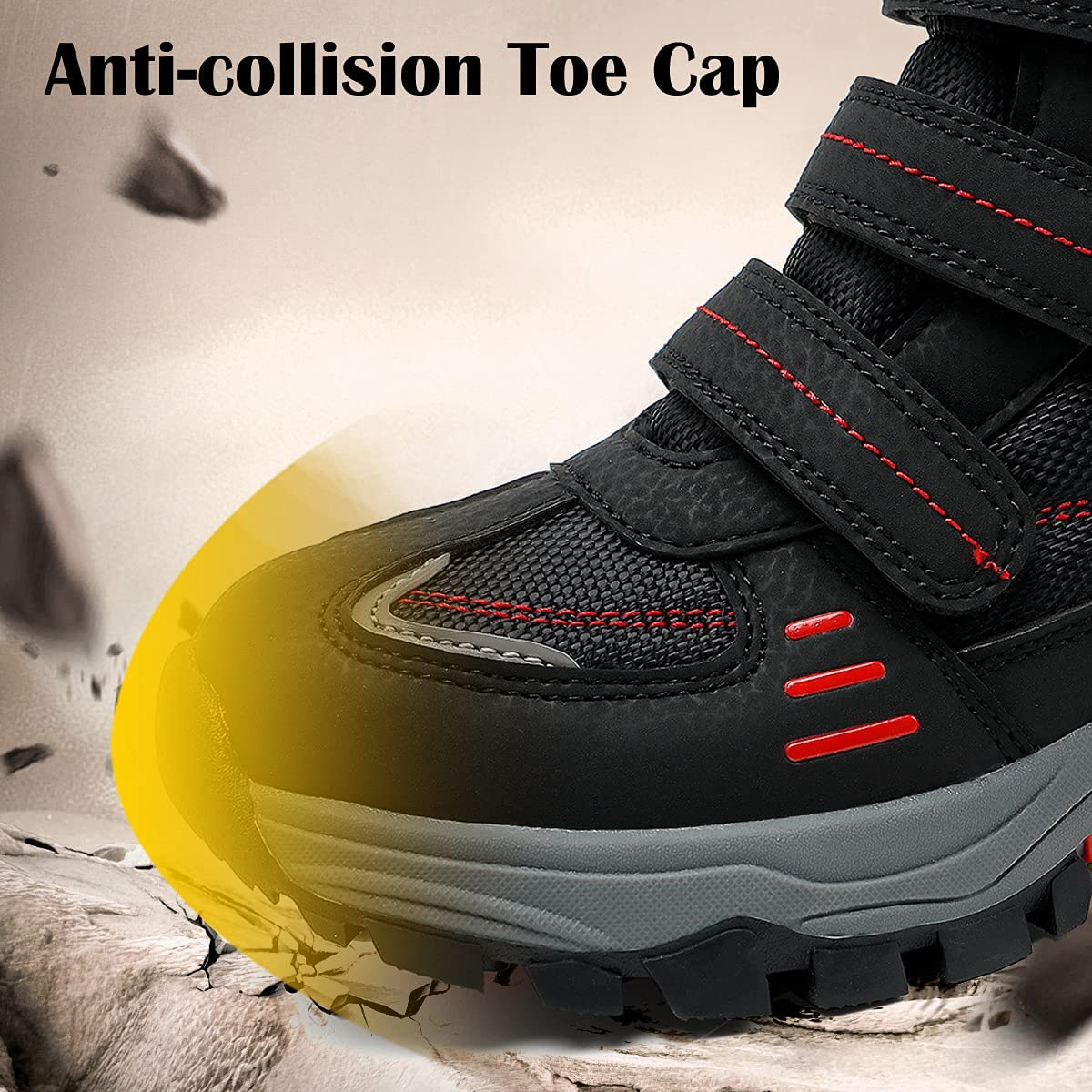 Boys Hiking Boots Kids Hiking Shoes Girls Outdoor Warm Winter Snow Boots Adventure Trekking Shoes Anti-skid Sneakers Steel Buckle Durable Comfortable