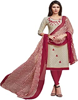 Monika Silk Mill Women's Cotton Lakda Jaquard Beige Color Embroidered Un Stitched Salwar Suit material with Dupatta
