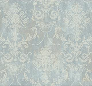 York Wallcoverings EP6153 Framed Bouquet Damask Wallpaper, Grey/Blue, Taupe, Cream, Silver Glitter