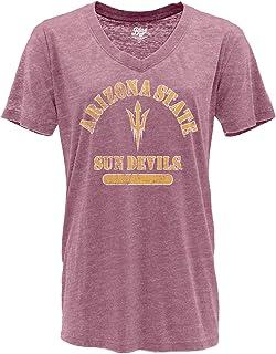 NCAA Arizona State Sun Devils Womens V-neck Burnout T Shirt, Arizona State Sun Devils Cranberry, Large