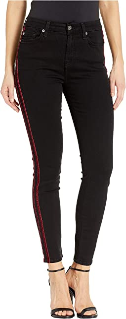 b(air) High-Waisted Ankle Skinny with Double Burgundy Velvet Stripes in Black