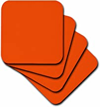 3dRose CST_5051_3 Bright Orange Ceramic Tile Coasters, Set of 4