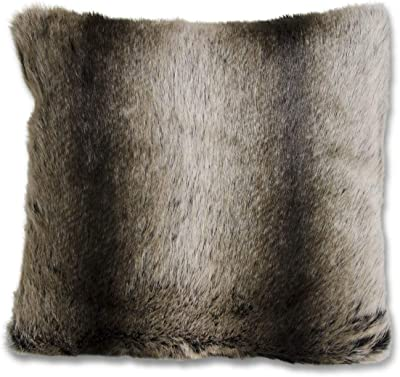 K&K Interiors 15946A 16 Inch Square Brown Three Tone Faux Fur Pillow