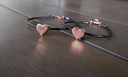 Mommy and Me Matching Heart Bracelet Set- Black