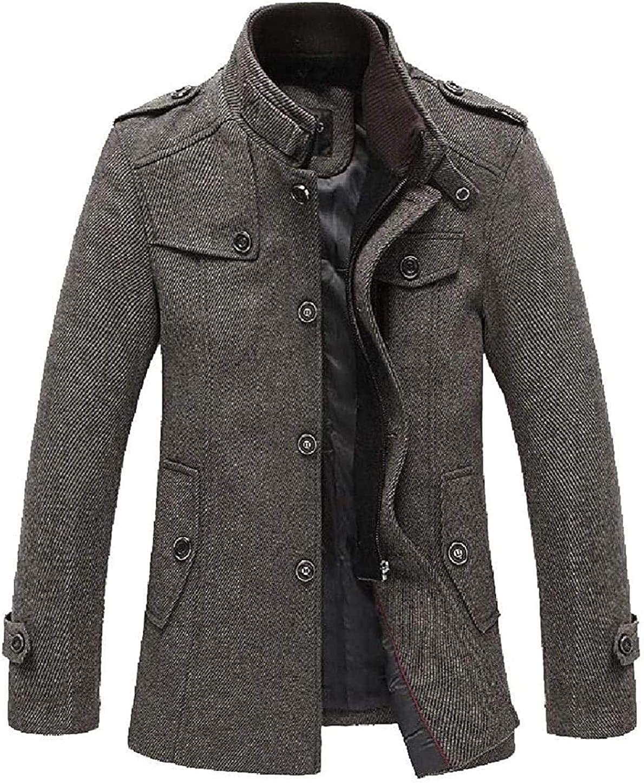 Men Overcoat Single Breasted Winter Stand Collar Wool Blend Top Coat