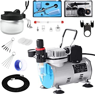 Professional Airbrushing Paint System with 1/5HP Air Compressor with Cooling Fan Auto On/Off and 2 Airbrush Kits with Airb...