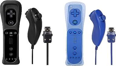 $38 » Poglen 2 paquetes de controlador inalámbrico de gestos y Nunchuck Jostick compatible para Wii Wii U Console (negro y azul ...