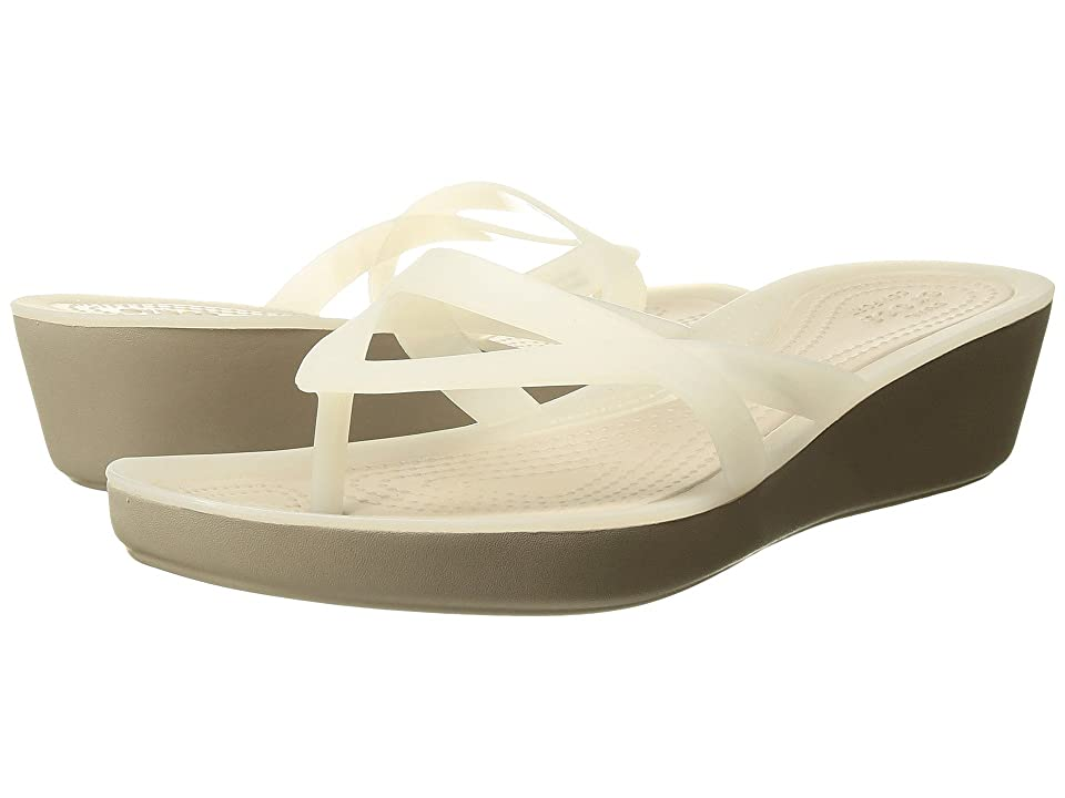 Crocs Isabella Wedge Flip (Oyster/Cobblestone) Women