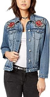 Almost Famous Juniors' Applique Studded Denim Jacket