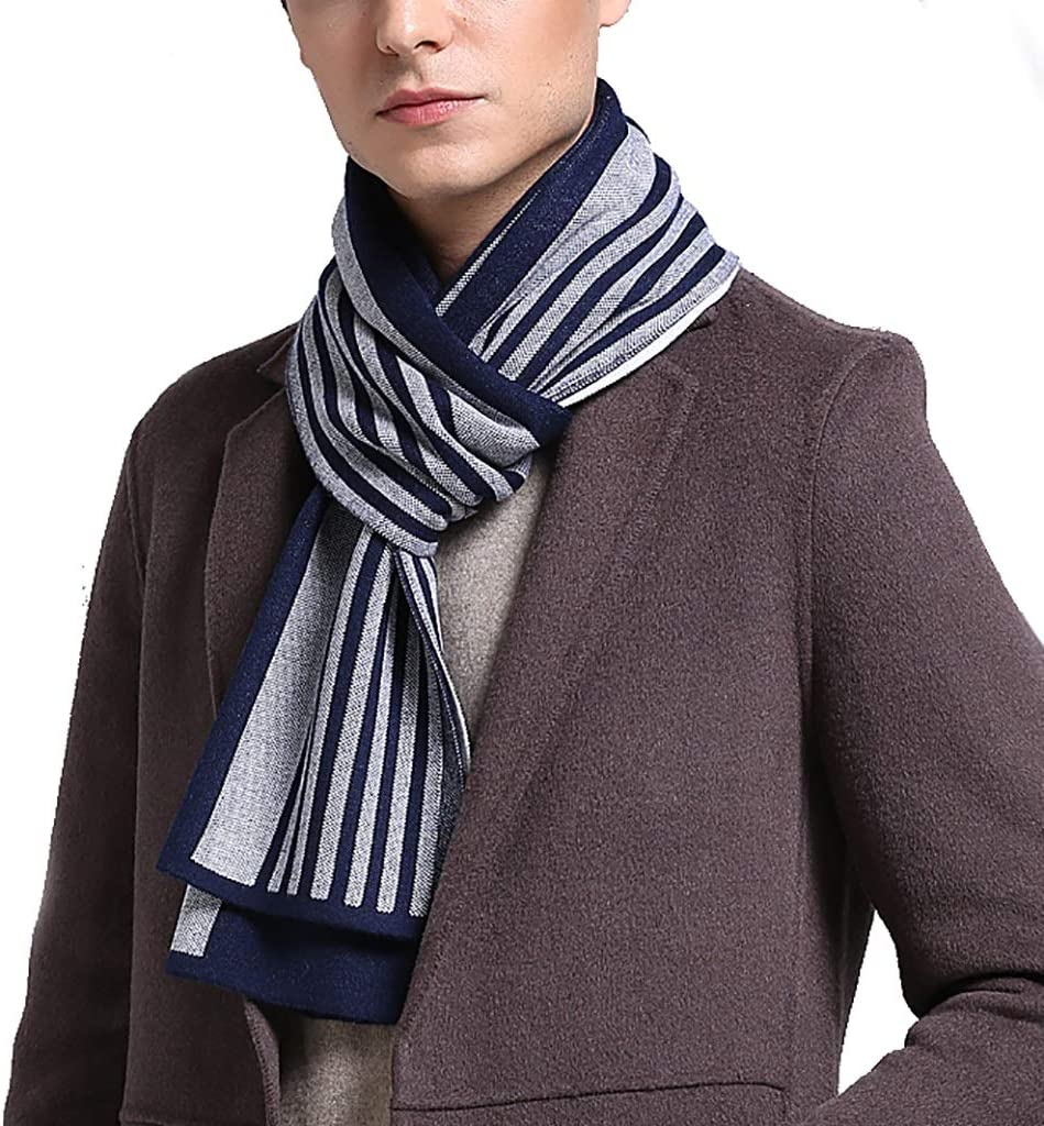 ZZL Fall 100% Wool Scarf Winter Men Stripe Scarf Premium Scarves Fashion Boss Soft Warm Simple Colors Autumn Winter Gifts Unisex Winter (Color : Blue)