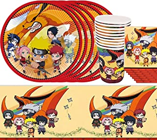 PAWT Naruto Kit de décoration de vaisselle pour anniversaire, fête d'anniversaire pour 10 invités