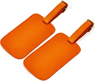 Luggage Tag Genuine Leather Travel ID Tags with Adjustable Leather Strap, Address Card and Privacy Cover, Orange, Set of 2