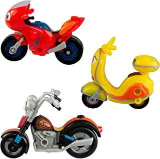 Tomy Ricky Zoom: Maxwell & the Bike Buddies 3 Pack – 3 & 4 inch Action Figures – Free-Wheeling, Free Standing Toy Bikes