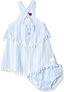Baby Girls Crinkle Tiered Dress with Bloomer Cover