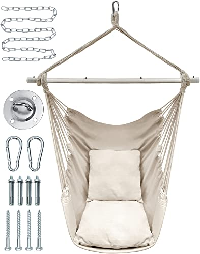 popular FiveJoy Hammock 2021 Chair Hanging sale Rope Swing, Hammock Swing Chair with Premium Carbon Steel Spreader Bar, Max 330 Lbs, 2 Cushions Included, Macrame Hanging Chair for Indoor, Outdoor, Beige online sale