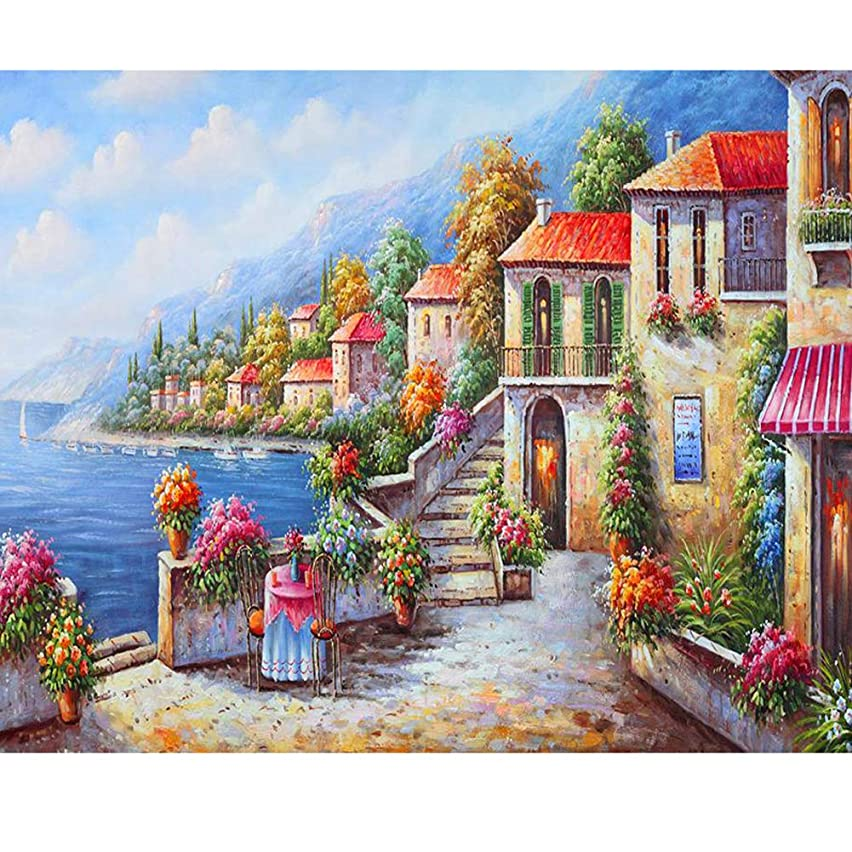 waitata DIY Oil Painting for Adults Kids Painting by Number Kit Digital Oil Painting Cozy sea View Room 16X20 Inch