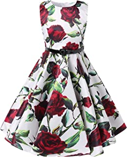 Girls Sleeveless Dress Floral Print Casual A-Line 1950s Vintage Rockabilly Swing Party Dresses 6-12 Years