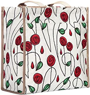 Charles Rennie Mackintosh Rose Art Nouveau Groceries Shopping Tote Bags for Women by Signare/SHOP-RMSP