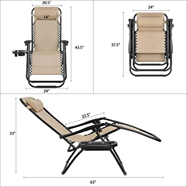 Devoko Patio Zero Gravity Chair Outdoor Folding Adjustable Reclining Chairs Pool Side Using Lawn Lounge Chair with Pillow Set
