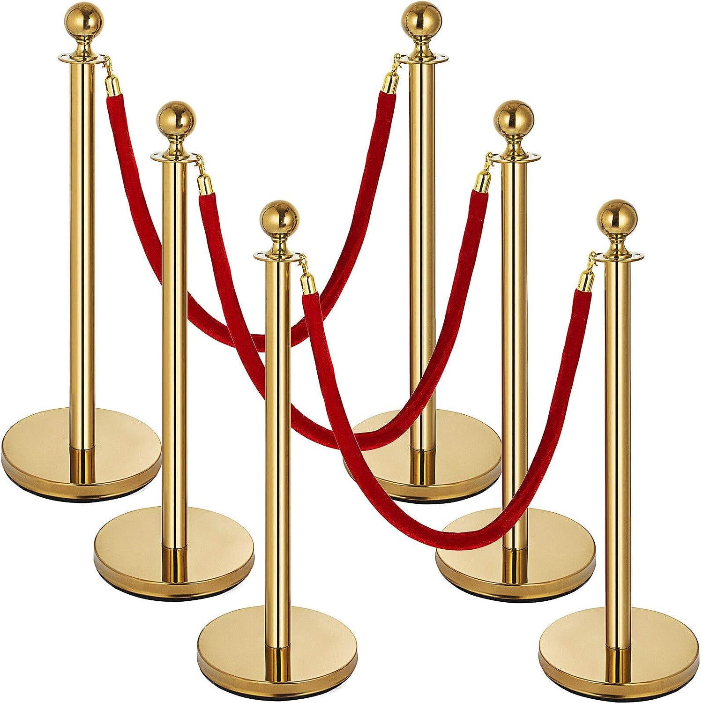 6PCS Stanchion Set Posts Queue We OFFer at cheap prices 5Ft Rapid rise Velvet Pole 3 Red