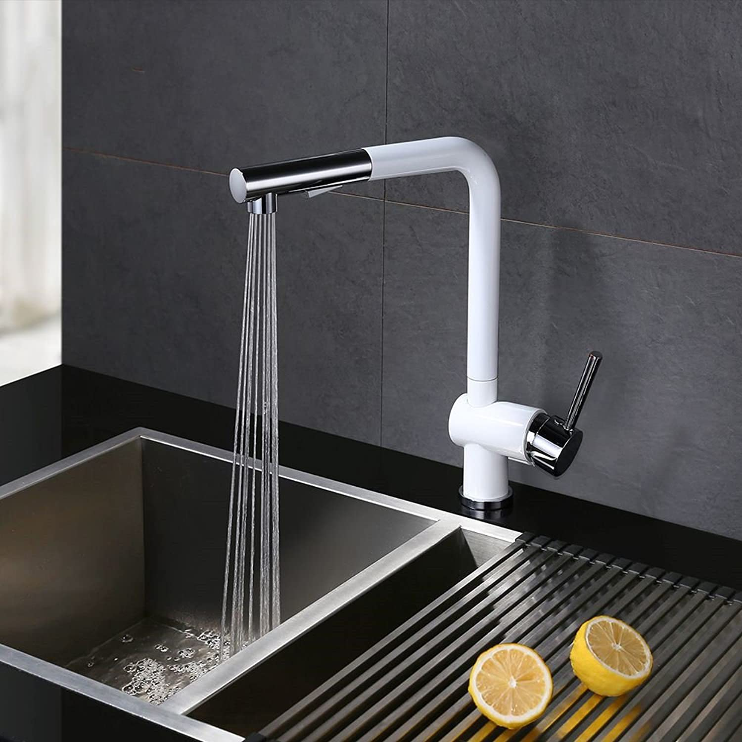 Lpophy Bathroom Sink Mixer Taps Faucet Bath Waterfall Cold and Hot Water Tap for Washroom Bathroom and Kitchen Full Copper 360° redating Pull-Out White