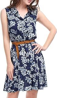 Women's Half Placket Above Knee Printed Belted Sleeveless Dress