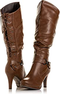 Bellmora Peggy-01 Women's Knee High Vegan Round Toe Lace Up Style (Full Zip) Slouched High Heel Boot