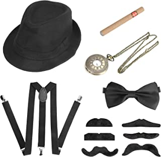 Achort - Costume da gangster da uomo anni '20, con cappello trilby, elastico per baffi, bretelle con fiocco e fiocco e sig...