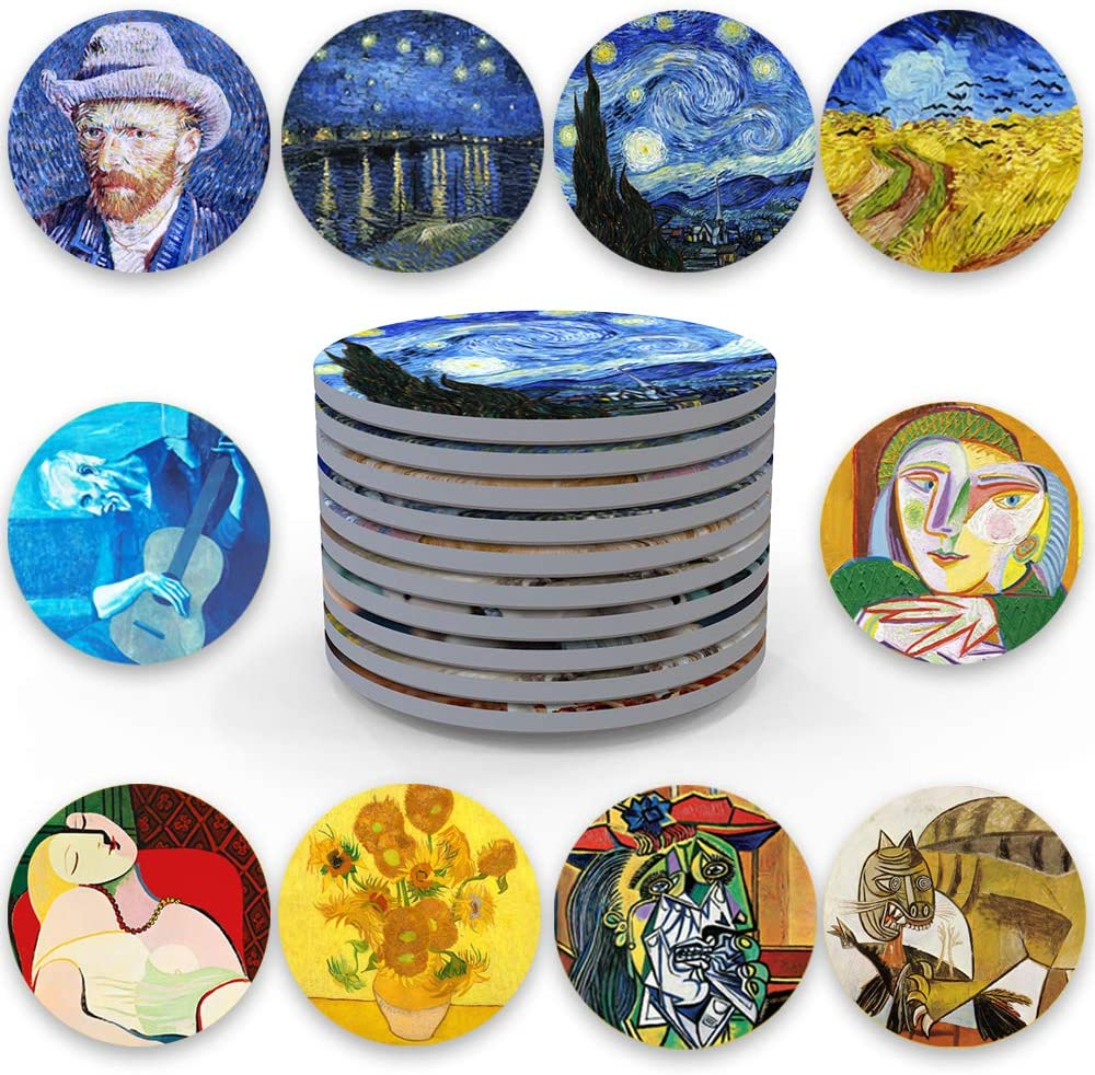 10Pcs Van Gogh Art Ranking TOP13 Coasters for Special price for a limited time Set Absorbent Ceramic