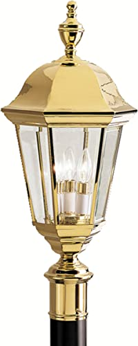 Kichler 9989PB Grove Mill Outdoor Post Mount 3-Light, Polished Brass