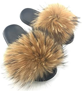 Yu He Womens Luxury Real Raccon Fur Slippers Slides Indoor Outdoor Flat Soles Soft Spring Summer Shoes