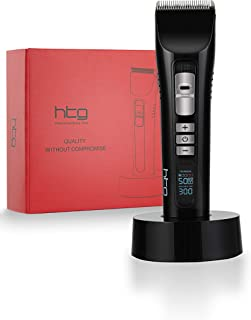 HTG Professional Hair Clippers for Men Professional Cordless Rechargeable Hair Trimmers Hair Cutting Kit Titanium Ceramic Blade LED Display 2600mAh Lithium Ion Hair Clipper Kit