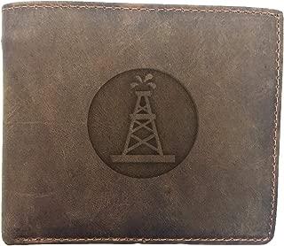 Oilfield Roughneck (Milk Chocolate) Engraved - - Premium Full Grain Leather Bi-Fold - Card Holder, Money Clip - Unisex, Men, Women - Handmade With Traditional Craftsmanship