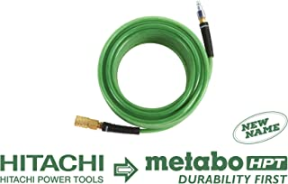 Metabo HPT 115155M Air Nailer Hose, 1/4-Inch x 50 Ft, Professional Grade Polyurethane, 1/4-Inch Industrial Fittings, 300 PSI, Remains Flexible in Cold Temperatures, Spiral Reinforced