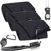 Rocita Golf Towel, Golf Clubs Set Golf Cleaning Tool Kit with Microfiber Waffle Pattern Club Groove, Cleaner Brush and Magnetic Foldable Divot Tool Golf Gifts Accessories Set for Men