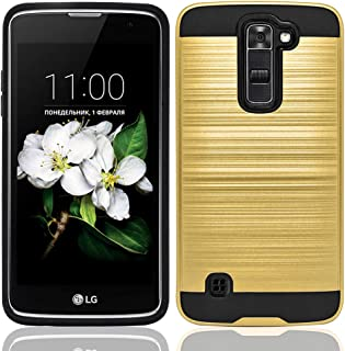 LG Tribute 5 Case, LG K7 LTE Case, NEM Brushed Metal Texture Impact Resistant Protective Dual Layer Hybrid Armor Shockproof Anti Scratch Hard Cover Case